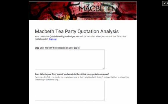 Macbeth Tea Party Quotation
