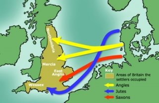 Settlement routes of Angles, Saxons and Jutes