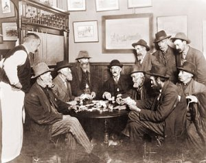 vintage old time saloon old men gathered 1800s
